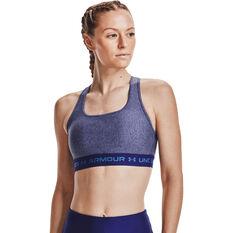 Under Armour Womens Mid Crossback Heather Sports Bra Blue XS, Blue, rebel_hi-res