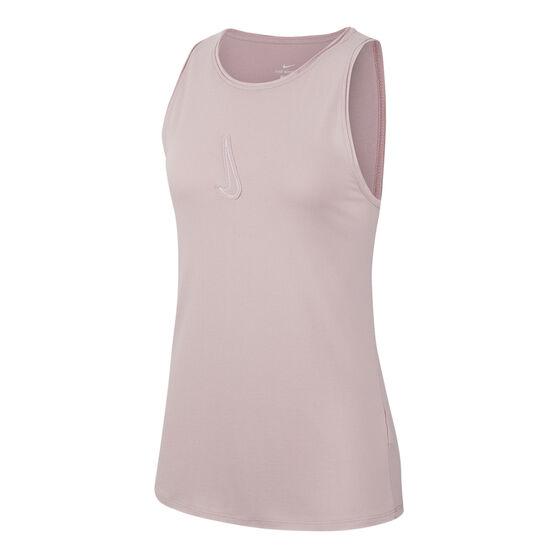Nike Womens Yoga Dri FIT Tank, Pink, rebel_hi-res
