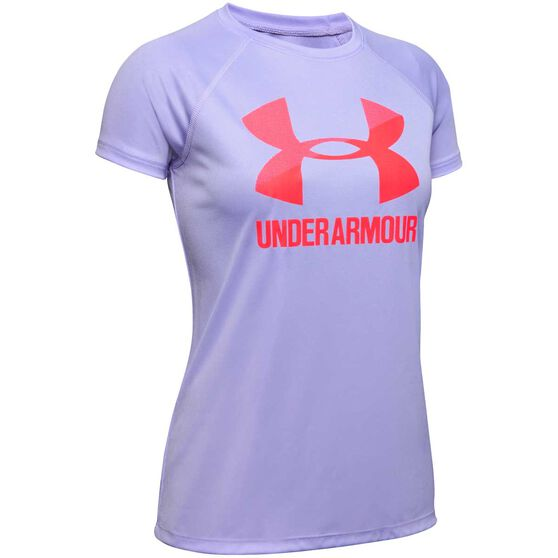 Under Armour Girls Big Logo Solid Tee, Purple / Red, rebel_hi-res