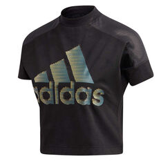 adidas Womens ID Glam Tee, Black, rebel_hi-res