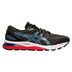 Asics GEL Nimbus 21 Mens Running Shoes Black / Blue US 7, Black / Blue, rebel_hi-res