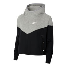 Nike Womens Tech Fleece Hoodie Grey / Black XS, Grey / Black, rebel_hi-res