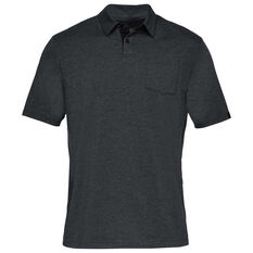 Under Armour Mens Charged Cotton Scramble Polo Shirt Black / Grey S, Black / Grey, rebel_hi-res