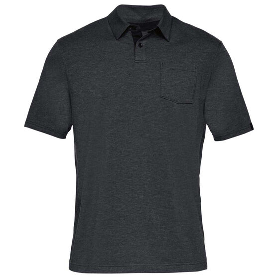 Under Armour Mens Charged Cotton Scramble Polo Shirt, Black / Grey, rebel_hi-res