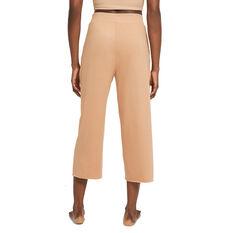 Nike Womens Yoga Luxe Cropped Fleece Pants Orange XS, Orange, rebel_hi-res