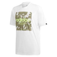 adidas Mens Camo Box Tee White S, White, rebel_hi-res
