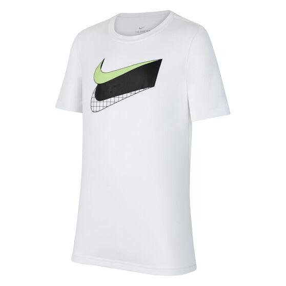 Nike Boys Dry Swoosh Glow Tee, White, rebel_hi-res