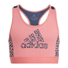 adidas Girls Designed To Move Leopard Sports Bra Pink 6, Pink, rebel_hi-res