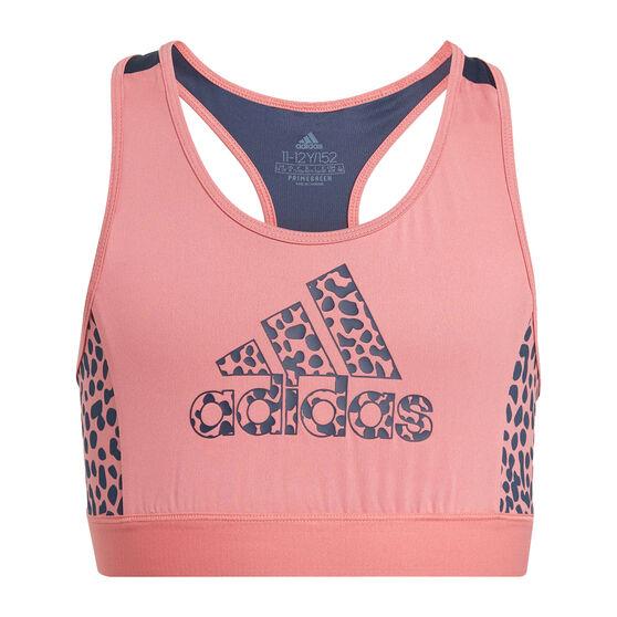 adidas Girls Designed To Move Leopard Sports Bra, Pink, rebel_hi-res