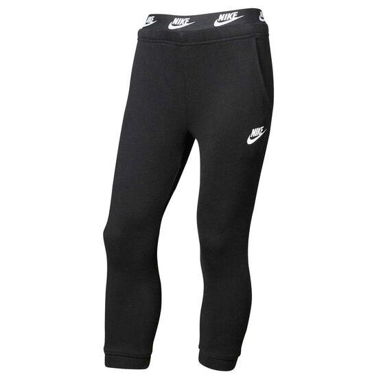 Nike Girls Sportswear French Terry Pants, Black / White, rebel_hi-res