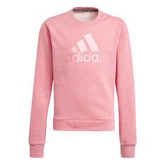 Adidas Girls Icons Logo Crew Sweatshirt Pink 5, Pink, rebel_hi-res