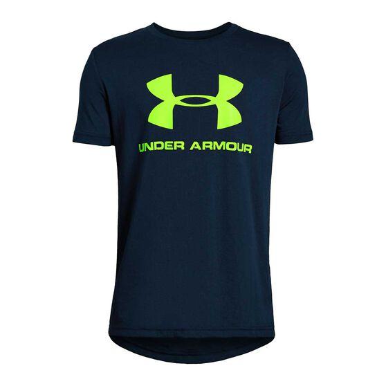 Under Armour Boys Sportstyle Logo Tee Blue / Yellow XS, Blue / Yellow, rebel_hi-res