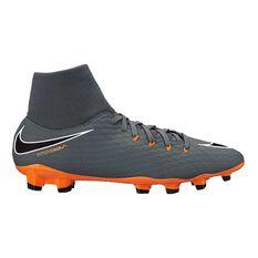 Nike Hypervenom Phantom III Academy Dynamic Fit Mens Football Boots Grey / Orange US 7 Adult, Grey / Orange, rebel_hi-res