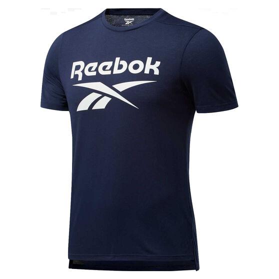 Reebok Mens Workout Ready Supremium Graphic Tee, Navy, rebel_hi-res