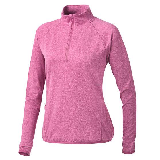 Ell & Voo Womens Hayley 1/4 Zip Brushed Fleece Top, Pink, rebel_hi-res