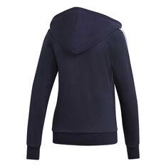adidas Womens Essentials 3 Stripes Full Zip Hoodie, Navy / White, rebel_hi-res