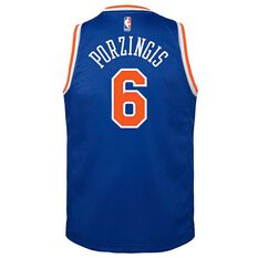 Nike New York Knicks Kristaps Porzingis Icon 2019 Kids Swingman Jersey Signal Blue S, Signal Blue, rebel_hi-res