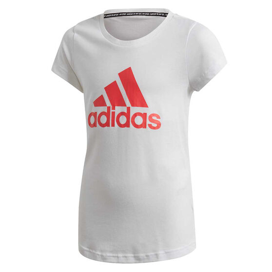 adidas Girls Must Haves Badge Of Sport Tee, White, rebel_hi-res