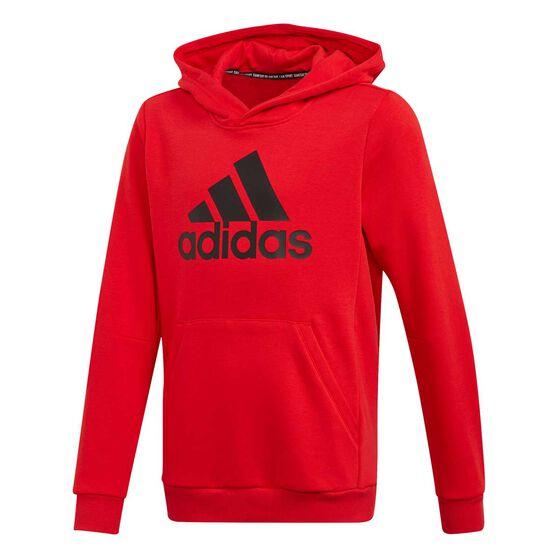 adidas Boys Must Haves Badge Of Sport Hoodie, Red / Black, rebel_hi-res