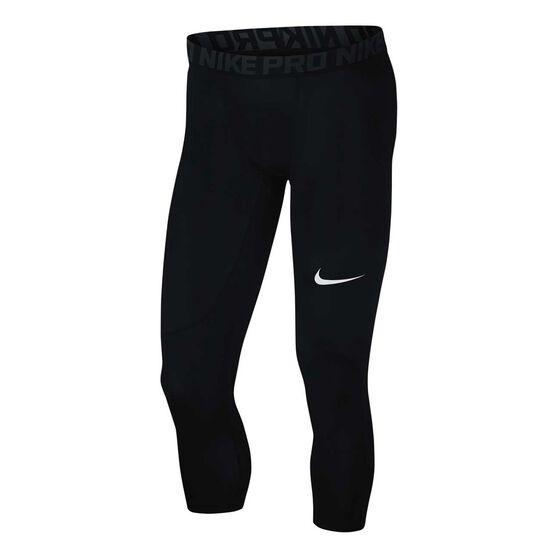 Nike Mens Nike Pro 3 Quarter Tights, Black, rebel_hi-res
