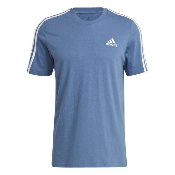 adidas Mens Essentials 3-Stripes Tee, Blue, rebel_hi-res