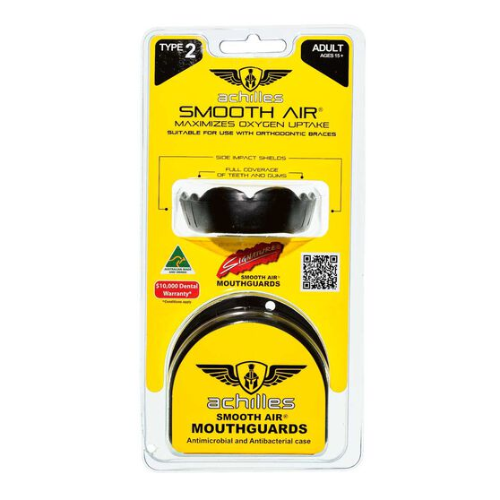 Achilles Type 2 Standard Mouthguard, Black, rebel_hi-res