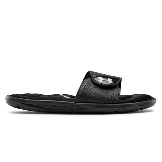 Under Armour Ignit IX Womens Slides, Black / White, rebel_hi-res