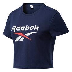 Reebok Womens Classics Big Logo Cropped Tee, Navy, rebel_hi-res