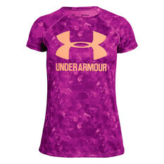 Under Armour Girls Big Logo Novelty Tee Purple / Pink XS, Purple / Pink, rebel_hi-res
