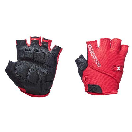 Goldcross Fingerless Gel Gloves, Red, rebel_hi-res