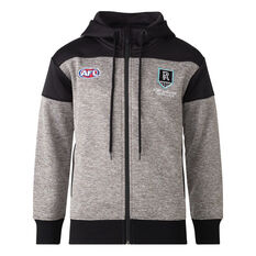 Port Adelaide 2021 Mens Ultra Hoodie Grey S, Grey, rebel_hi-res
