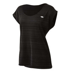 Running Bare Womens Cosmic Dolman Training Tee Black 8, Black, rebel_hi-res