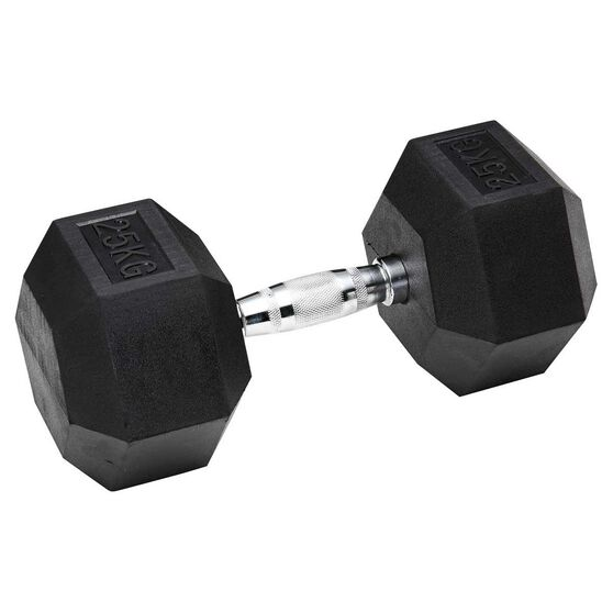Celsius Rubber Hex Dumbbell 25kg, , rebel_hi-res