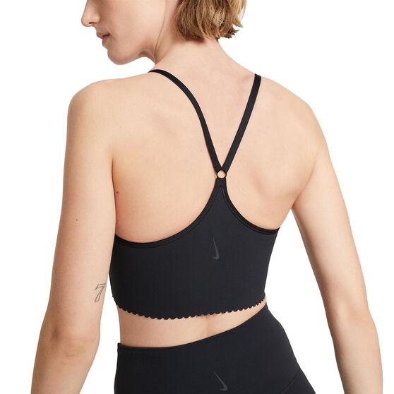 Nike Womens Yoga Dri-FIT Indy Light Support Sports Bra, Black, rebel_hi-res