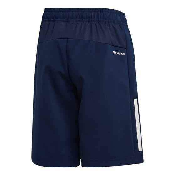 adidas Boys 3 Stripe Woven Training Shorts, Navy / White, rebel_hi-res