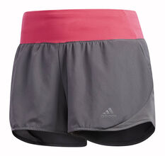 adidas Womens Run It 3in Shorts Grey / Pink XS, Grey / Pink, rebel_hi-res