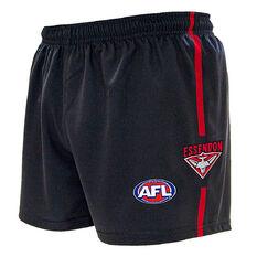 Essendon Bombers Kids Home Supporter Shorts Black 4, Black, rebel_hi-res