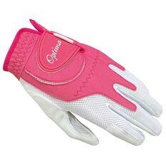 Optima Soft Feel Womens Golf Glove White / Pink Left Hand, White / Pink, rebel_hi-res