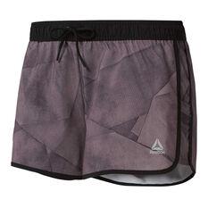 Reebok Womens Workout Ready All Over Print Shorts Grey XS, Grey, rebel_hi-res