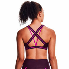 Under Armour Womens Crossback Low Shine Sports Bra Purple XS, Purple, rebel_hi-res