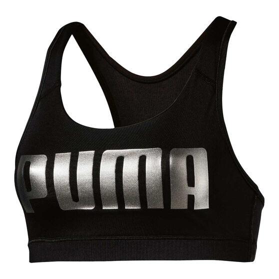 Puma Womens 4Keeps Sports Bra Black / Silver XS, Black / Silver, rebel_hi-res
