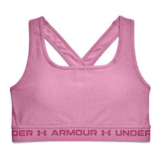 Under Armour Womens Mid Crossback Heather Sports Bra Pink XS, Pink, rebel_hi-res