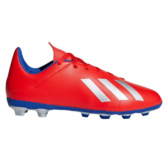 adidas X 18.4 FXG Kids Football Boots, Red / Silver, rebel_hi-res