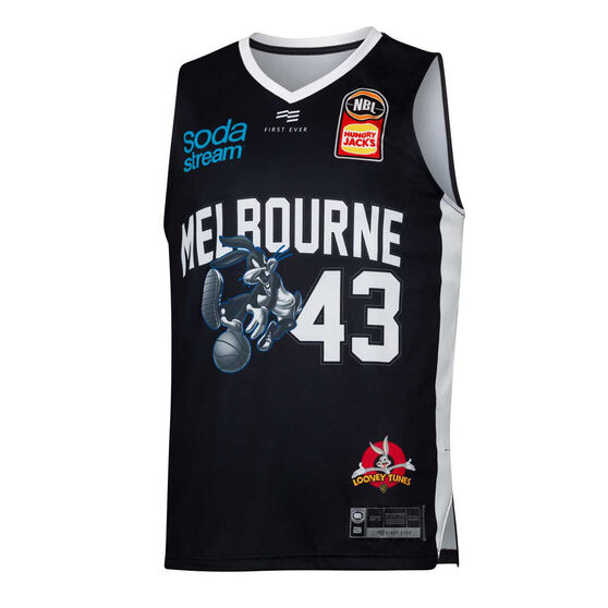 Melbourne United 2019/20 Mens Looney Tunes Chris Goulding Jersey, Black, rebel_hi-res