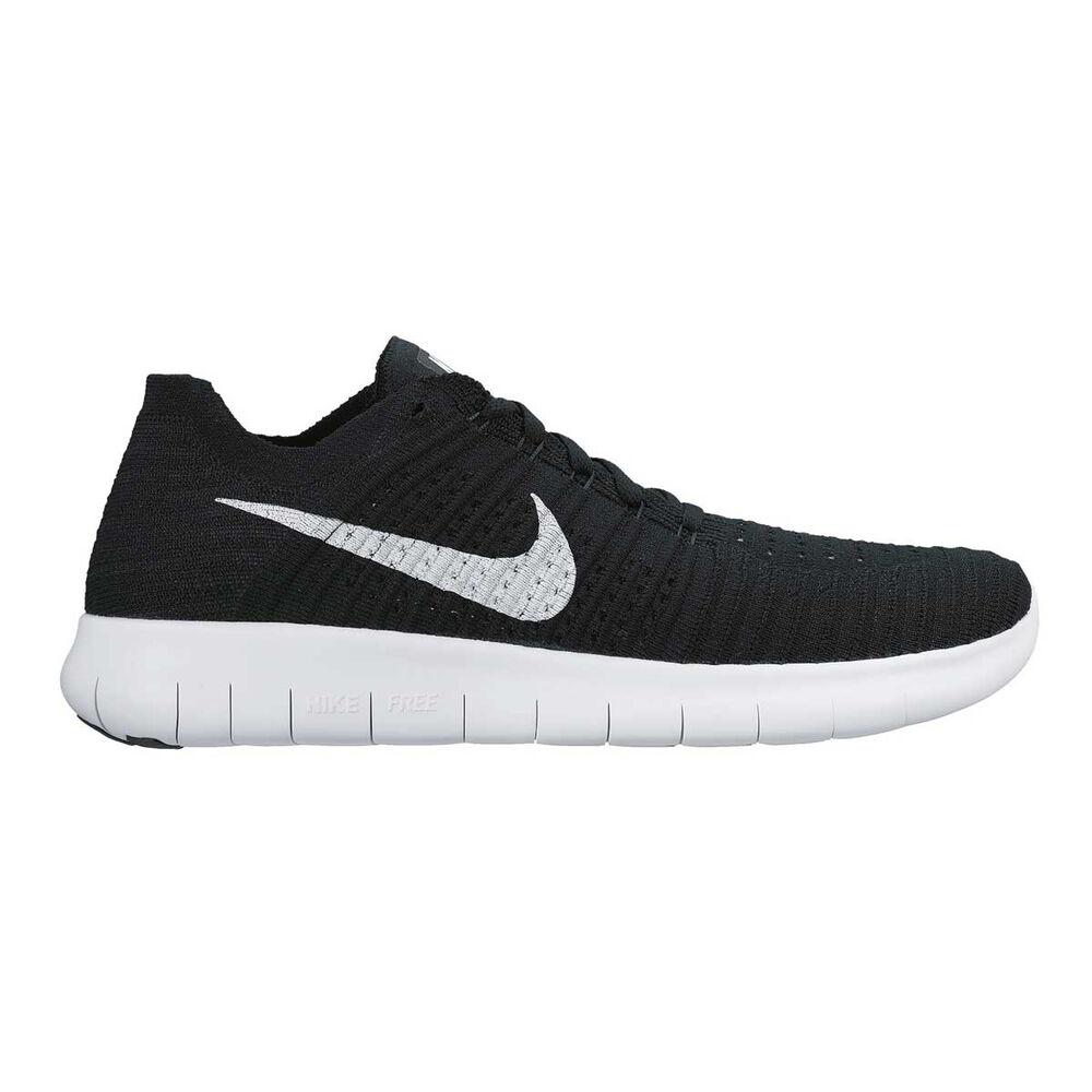 new style 7f7cb 3f07d Nike Free Run Flyknit Mens Running Shoes Black   White US 9, Black   White