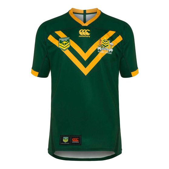 Kangaroos 2019 Mens Pro Home Jersey, Green / Yellow, rebel_hi-res