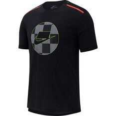 Nike Mens Short-Sleeve Mesh Running Top Black S, Black, rebel_hi-res