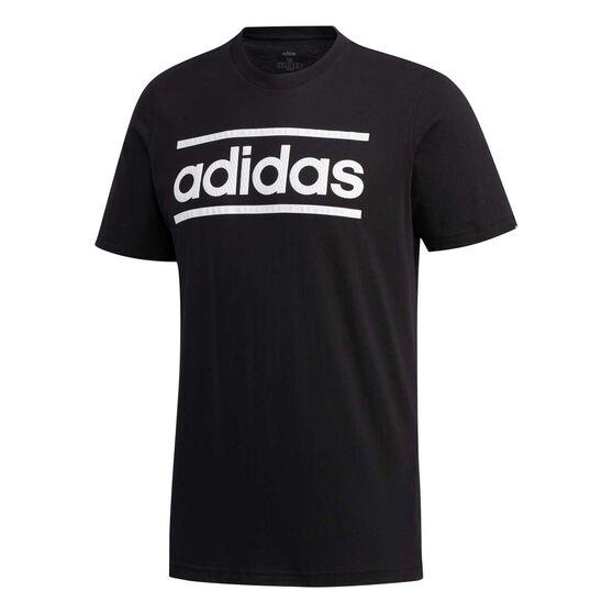 adidas Mens Linear Logo Tee, Black / White, rebel_hi-res