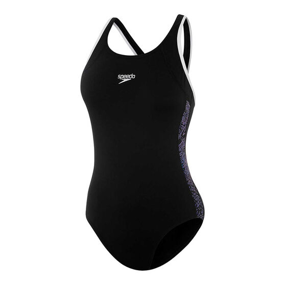 Speedo Womens Boom Muscleback One Piece Swimsuit, Black / Print, rebel_hi-res