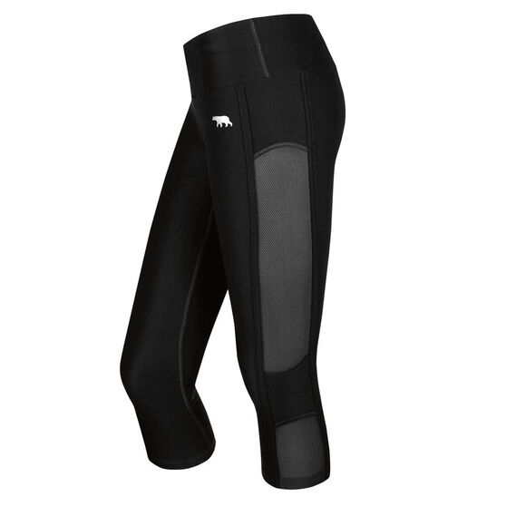 Running Bare Womens In The Zone 3 / 4 Tights Black 8, Black, rebel_hi-res